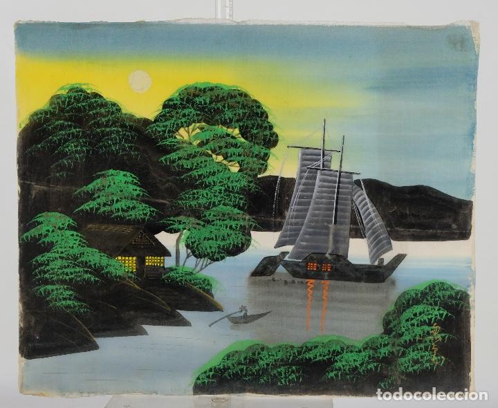 Arte: Acuarela y gouache sobre seda Paisaje oriental Escuela oriental mediados siglo XX - Foto 2 - 110737251