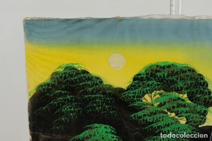 Arte: Acuarela y gouache sobre seda Paisaje oriental Escuela oriental mediados siglo XX - Foto 3 - 110737251