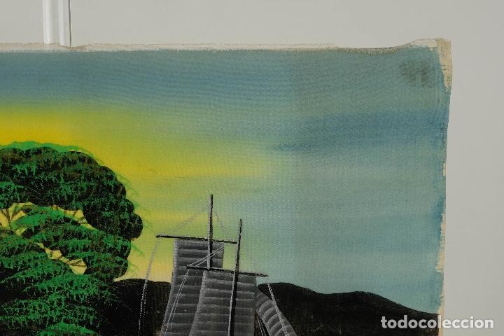 Arte: Acuarela y gouache sobre seda Paisaje oriental Escuela oriental mediados siglo XX - Foto 4 - 110737251