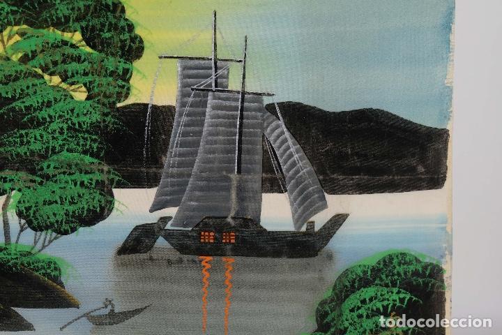 Arte: Acuarela y gouache sobre seda Paisaje oriental Escuela oriental mediados siglo XX - Foto 5 - 110737251