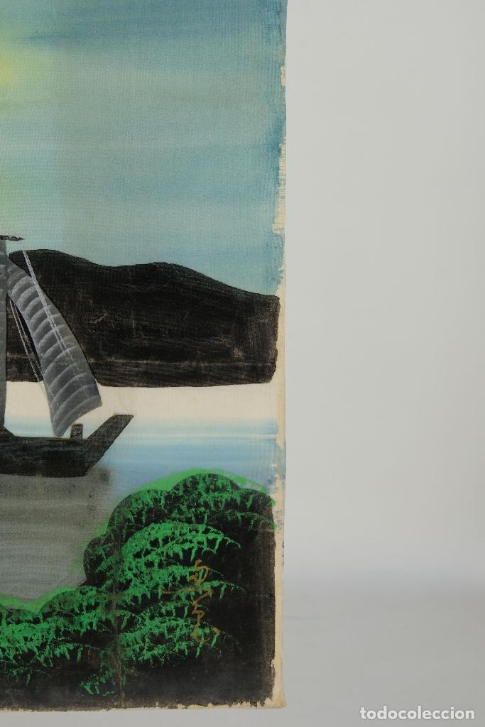 Arte: Acuarela y gouache sobre seda Paisaje oriental Escuela oriental mediados siglo XX - Foto 6 - 110737251