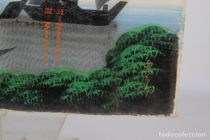 Arte: Acuarela y gouache sobre seda Paisaje oriental Escuela oriental mediados siglo XX - Foto 7 - 110737251