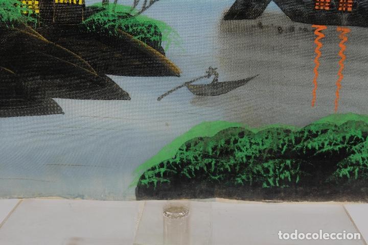 Arte: Acuarela y gouache sobre seda Paisaje oriental Escuela oriental mediados siglo XX - Foto 8 - 110737251