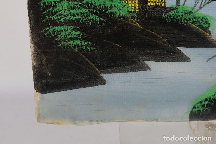Arte: Acuarela y gouache sobre seda Paisaje oriental Escuela oriental mediados siglo XX - Foto 9 - 110737251