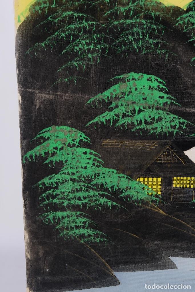 Arte: Acuarela y gouache sobre seda Paisaje oriental Escuela oriental mediados siglo XX - Foto 10 - 110737251