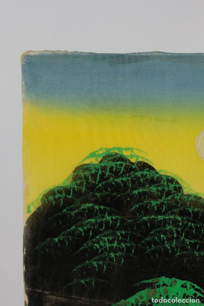 Arte: Acuarela y gouache sobre seda Paisaje oriental Escuela oriental mediados siglo XX - Foto 11 - 110737251