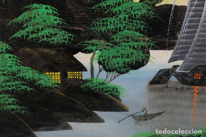 Arte: Acuarela y gouache sobre seda Paisaje oriental Escuela oriental mediados siglo XX - Foto 12 - 110737251