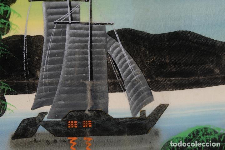 Arte: Acuarela y gouache sobre seda Paisaje oriental Escuela oriental mediados siglo XX - Foto 13 - 110737251