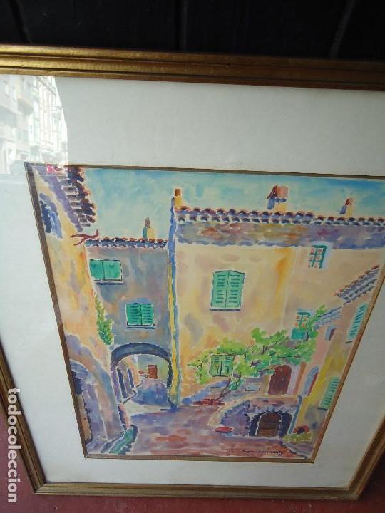 Arte: años 50 acuarela firmada mide 61 x 51cm ORIGINAL - Foto 7 - 111023979