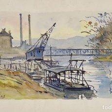 Arte: PAISAJE DEL SENA. ACUARELA SOBRE PAPEL. A. GUERIN. CIRCA 1940. . Lote 111086391