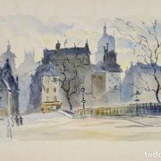 Arte: CALLE DE PARIS. ACUARELA SOBRE PAPEL. A. GUERIN. FRANCIA. CIRCA 1940. . Lote 111087199