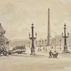 Arte: PLAZA DE LA CONCORDIA. TINTA Y ACUARELA. FRANCIA. A. GUERIN. CIRCA 1940. . Lote 111088127