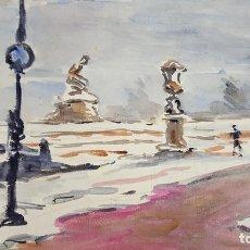 Arte: PAISAJE DE PARIS. ACUARELA SOBRE PAPEL. FRANCIA. A. GUERIN. CIRCA 1940. . Lote 111089051