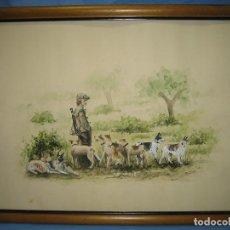 Arte: ACUARELA CINEGETICA . FIRMADO FERNANDO G. HERRERA. MEDIDAS 66X50 CM. Lote 111460663