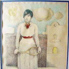Arte: TENISTA. DIBUJO AL LÁPIZ , COLOR Y CARBONCILLO SOBRE PAPEL. RAMÓN CALSINA BARÓ (1901-1992).. Lote 111494691