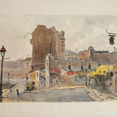 Arte: CALLE DE MONTMARTRE. ACUARELA SOBRE PAPEL. A. GUERIN. CIRCA 1940.. Lote 111581699