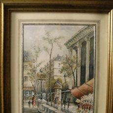 Arte: JUAN SEVILLA SAEZ (1922). ACUARELA PARISIEN. 42X32 CMS. 1996. CON MARCO MADERA DORADA,53X63. Lote 111585123