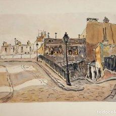 Arte: CALLE DE PARÍS. ACUARELA SOBRE PAPEL. A. GUERIN. CIRCA 1940. . Lote 111654407