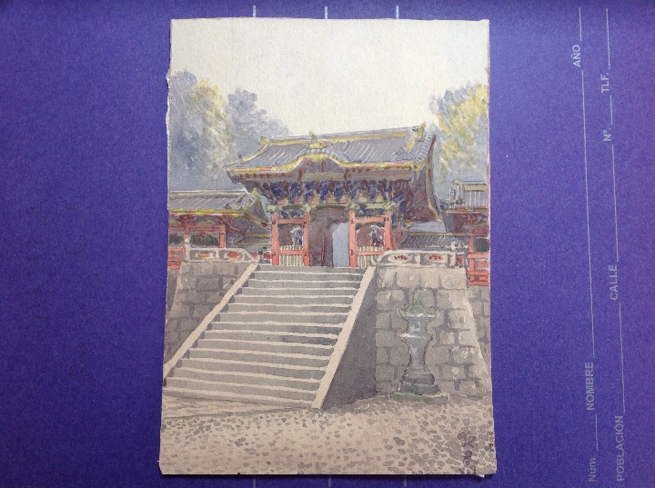 Arte: Escuela japonesa s.XIX. Templos japoneses. - Foto 2 - 112102467