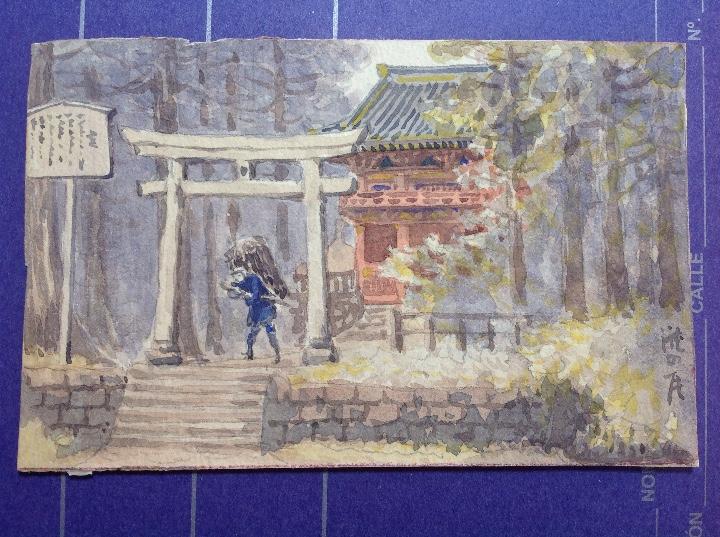 Arte: Escuela japonesa s.XIX. Templos japoneses. - Foto 4 - 112102467