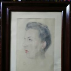 Arte: RETRATO DE MUER FIRMADO 1944. ENVIO CERTIFICADO INCLUIDO.. Lote 112203572