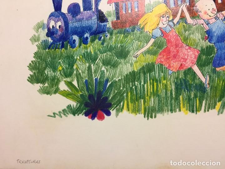 Arte: Dibujo original de Boada para ilustrar la Enciclopedia Infantil, de 10 tomos de Editorial Carroggio - Foto 3 - 112347863