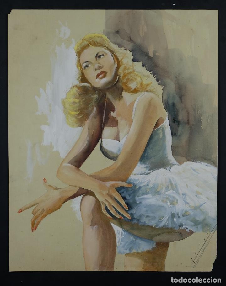 Arte: Gouache y acuarela sobre papel Bailarina firmado Toriski mediados siglo XX - Foto 2 - 112455931