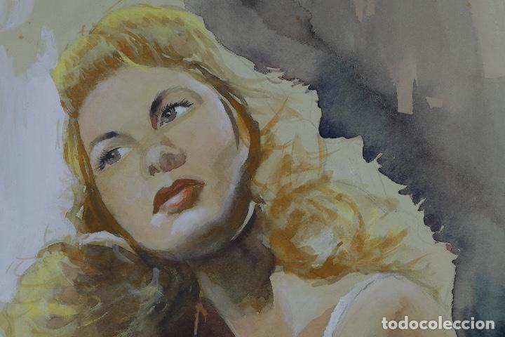 Arte: Gouache y acuarela sobre papel Bailarina firmado Toriski mediados siglo XX - Foto 5 - 112455931