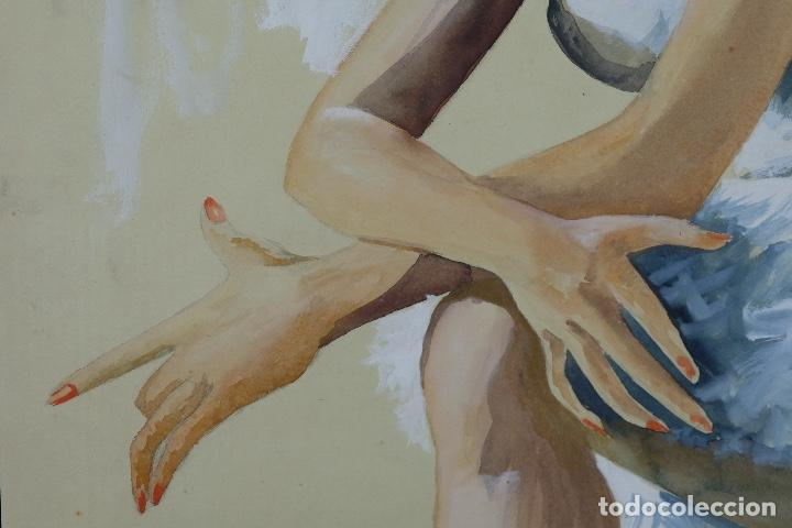 Arte: Gouache y acuarela sobre papel Bailarina firmado Toriski mediados siglo XX - Foto 7 - 112455931