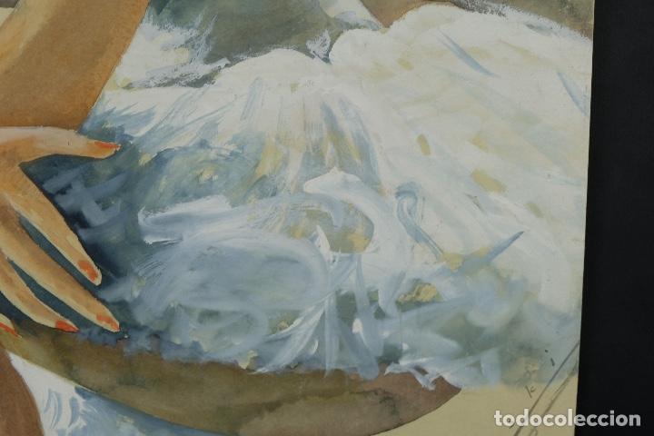 Arte: Gouache y acuarela sobre papel Bailarina firmado Toriski mediados siglo XX - Foto 8 - 112455931