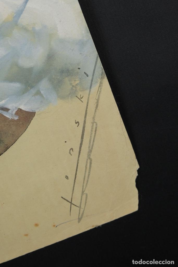 Arte: Gouache y acuarela sobre papel Bailarina firmado Toriski mediados siglo XX - Foto 10 - 112455931