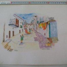 Arte: ACUARELA FIRMADA POR EL PINTOR BRÄUER. IBIZA 1979, WATERCOLOR PAINT, AQUARELLFARBE. Lote 112748111