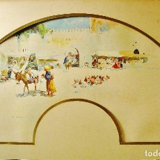 Arte: MERCADO ÁRABE, ZOCO. ACUARELA. JOSÉ NAVARRO LLORENS (1867-1923). FIRMADO. FORMA DE ABANICO.. Lote 112971403