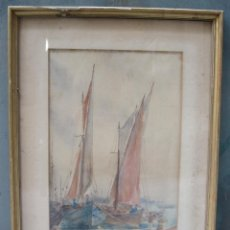 Arte: ACUARELA, PUERTO, 1899, FIRMADA R. H. TINLING. 60X40CM. Lote 113149031