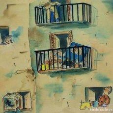 Arte: DIBUJO HUMORÍSTICO. ACUARELA SOBRE PAPEL. FIRMADO CESC. ESPAÑA. 1942. Lote 113571439