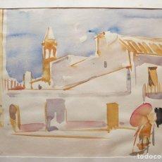 Arte: GIUSEPPE TAMPIERI (1918 – 2014) ACUARELA 34 X 24 CM. FIRMADA. BARRIO DE TRIANA (SEVILLA). AÑOS 50.. Lote 113650987