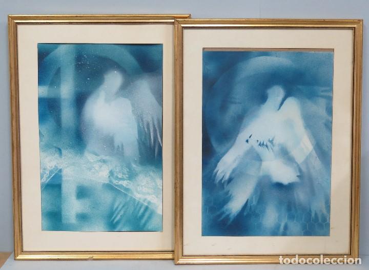 INTERESANTE PAREJA DE OBRAS REPRESENTANDO A PALOMA-ESPIRITU SANTO. AEROGRAFO S/ PAPEL. FIRMADA (Arte - Acuarelas - Contemporáneas siglo XX)