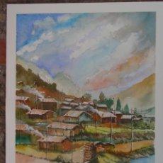 Arte: POBLADO ORIENTAL (ACUARELA SOBRE PAPEL 41 X 31). Lote 114773955