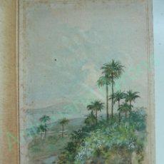 Arte: ACUARELA ANTIGUA. TARJETA DE FELICITACIÓN. FIRMA MORALES. LAS PALMAS DE GRAN CANARIA (20 X 13 CM). Lote 114926843