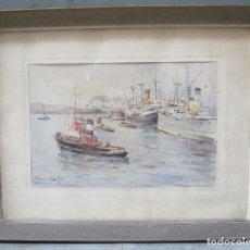 Arte: JAUME ROCA I DELPECH (1911-1968), PUERTO BARCELONA, ACUARELA. 43X56CM. Lote 114965895