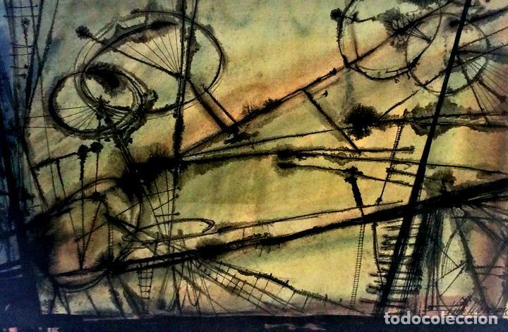 COMPOSICIÓN ABSTRACTA. ACUARELA SOBRE PAPEL. FIRMADO VILA MONCAU. ESPAÑA. SIGLO XX (Arte - Acuarelas - Contemporáneas siglo XX)