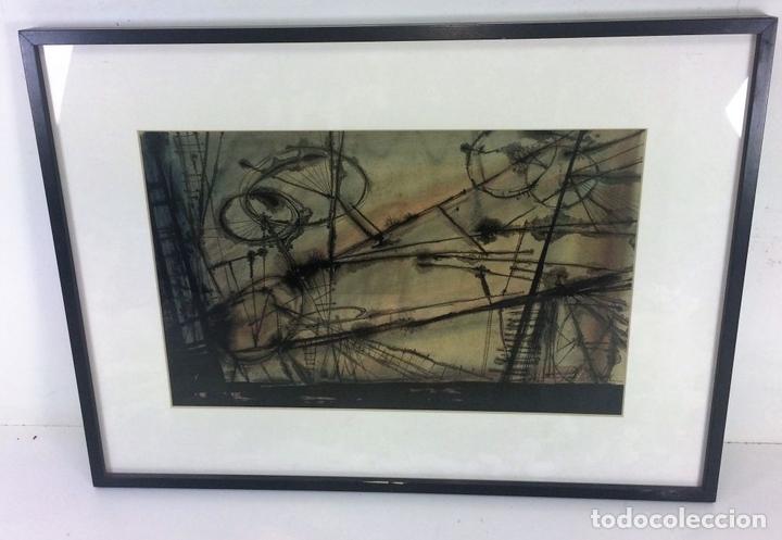 Arte: COMPOSICIÓN ABSTRACTA. ACUARELA SOBRE PAPEL. FIRMADO VILA MONCAU. ESPAÑA. SIGLO XX - Foto 2 - 115099667