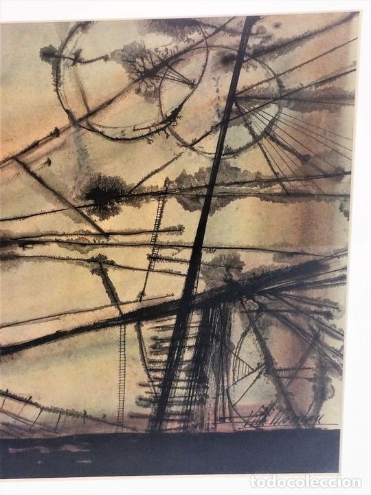 Arte: COMPOSICIÓN ABSTRACTA. ACUARELA SOBRE PAPEL. FIRMADO VILA MONCAU. ESPAÑA. SIGLO XX - Foto 3 - 115099667