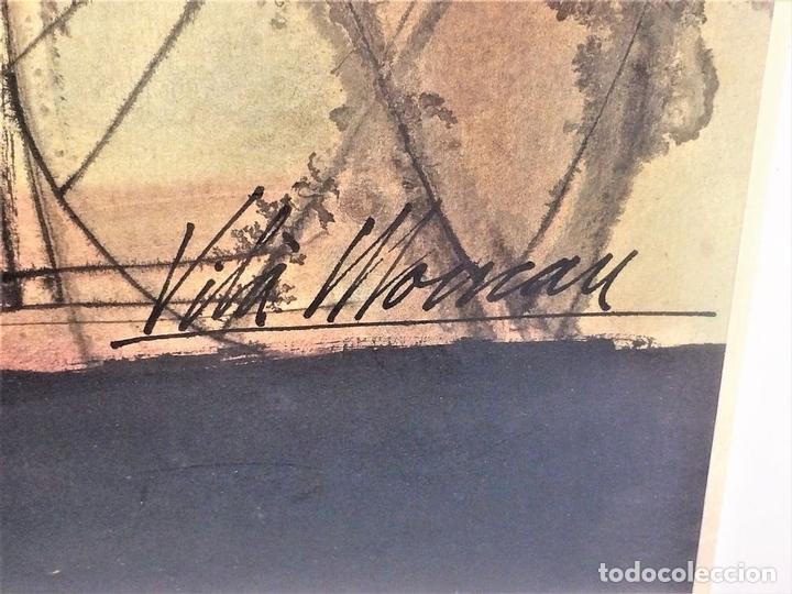 Arte: COMPOSICIÓN ABSTRACTA. ACUARELA SOBRE PAPEL. FIRMADO VILA MONCAU. ESPAÑA. SIGLO XX - Foto 7 - 115099667