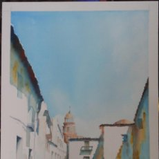 Arte: CALLE DE JEREZ (ACUARELA SOBRE PAPEL 31 X 41). Lote 115333811