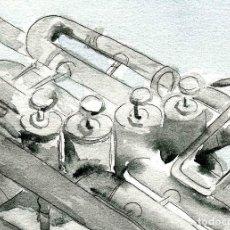 Arte: ACUARELA ORIGINAL FIRMADA DE TUBA, CERTIFICADO DE AUTENTICIDAD. MÚSICOS, TUBAS, VIENTO METAL.. Lote 115416211