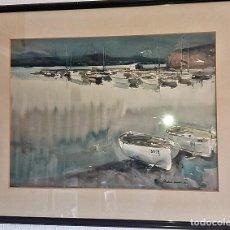 Arte: ACUARELA DE J. MARTINEZ LOZANO - PLATJA DEL PORT I ILLOT DEL CASTELLAR (LLANÇÀ) - 1978 - 67X50 MARCO. Lote 115590047