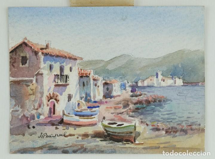 Arte: Acuarela sobre papel Paisaje costa con barcas firma ilegible segunda mitad siglo XX - Foto 2 - 115615571