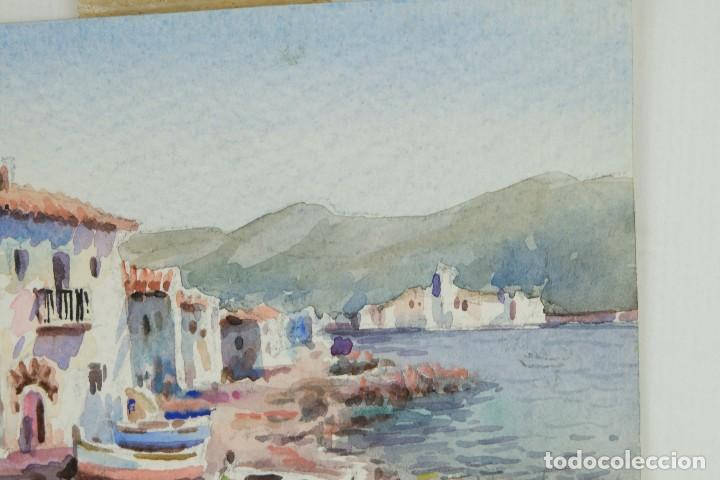 Arte: Acuarela sobre papel Paisaje costa con barcas firma ilegible segunda mitad siglo XX - Foto 3 - 115615571