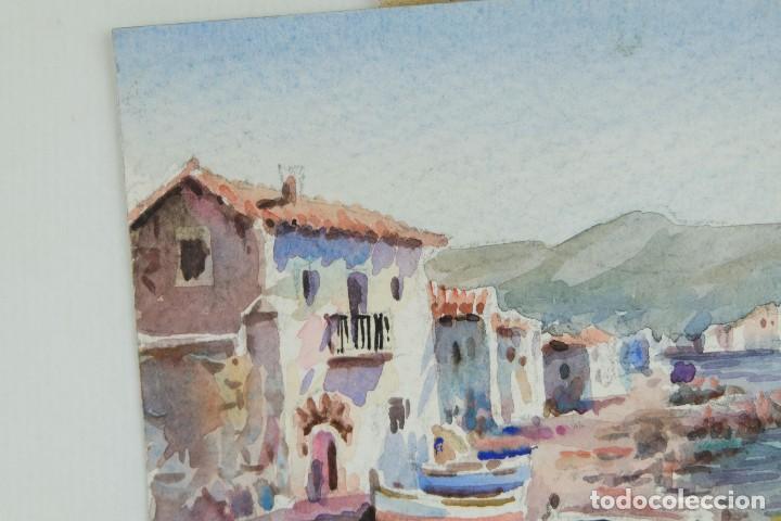 Arte: Acuarela sobre papel Paisaje costa con barcas firma ilegible segunda mitad siglo XX - Foto 4 - 115615571
